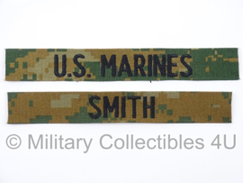 USMC US Marines 'SMITH' branch tape/naamlint SET - marpat woodland camo - nieuw gemaakt