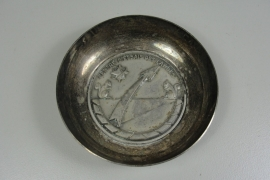 Zilveren herinnerings schaal - Franse raket basis - Centre D'essais des Landes - origineel