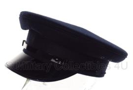 Politie platte pet - zonder insigne  - Donkerblauw, grof wol, zwarte voering - maat 57 of 58 - origineel