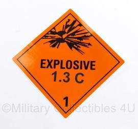 Defensie sticker explosieve stoffen 1.3 C1 voor op munitiekisten - nieuw - 11 x 10 cm - origineel