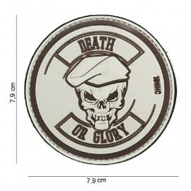 Embleem 3D PVC Death or Glory rond -  klittenband - 7,9  cm - Beige