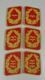 SA kraagspiegels Goud metaaldraad op rode basis