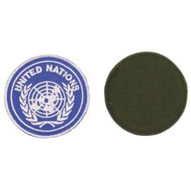 United Nations embleem 6,5 cm. met klittenband - origineel maar ongebruikt