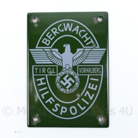 Wo2 Duits Emaille wandbordje Bergwacht Hilfpolizei Tirol Vorarlberg - origineel