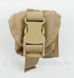 Defensie of US Army Khaki MOLLE handgrenade pouch - 9 x 8 x 8  cm - origineel