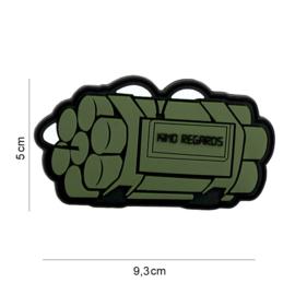 Embleem 3D PVC - met klittenband - GREEN Timebomb Kind Regards - 9,3 x 5 cm.