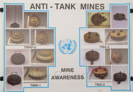 UN United Nations leger kaart Anti-Tank Mines - 69 x 49 cm - origineel