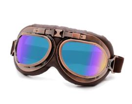 Piloten bril of brommer bril - Vintage Copper look met gekleurde glazen