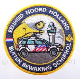 """Nederlandse Politie Buiten Bewaking Schiphol """"eenheid Noord Holland"""" embleem - met klittenband - diameter 9 cm"""