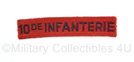 MVO straatnaam  enkel 10de Regiment Infanterie - 9 x 2 cm - origineel