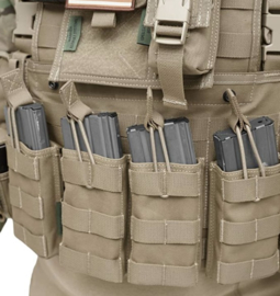 Warrior assault systems  MAG pouch TRIPLE MOLLE open M4 5.56mm MAG / Bungee retention - 3 MAG Pouch Coyote Tan  - Nieuw