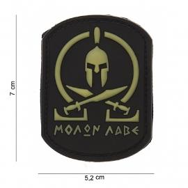 Embleem Molon Labe Spartan - Klittenband - 3D PVC - 7 x 5,2 cm - zwarte achtergrond