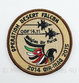 BAF Belgian Air Force Operation Desert Falcon ODF 14.11 2014 OIR-Iraq 2015 embleem  met klittenband- 9 cm. diameter