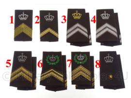 KL Nederlandse leger DT 1963-2000 schouderstukken met kroon (en krans) - verschillende rangen - origineel