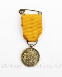 Nederlandse leger miniatuur GLT gala tenue medaille trouwe dienst medaille goudkleurig Juliana periode - origineel