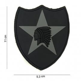 Embleem 3D PVC 2nd Infantry Division -  klittenband -11 x 9,3 cm - Zwart