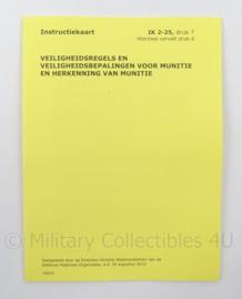 KL Landmacht Instructiekaart Munitie - IK 2-25 - afmeting 13,5 x 10 cm - origineel