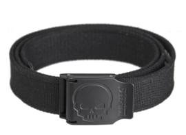 Skull trouser belt broekriem Black met Zwart metalen slot