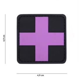 Embleem Red Cross - Roze met zwarte achtergrond - klittenband - 3D PVC - 5 x 5 cm