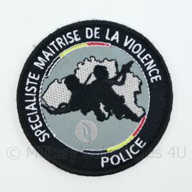 Belgische Politie Specialiste Maitrise de la Violence Police embleem - met klittenband - diameter 9 cm