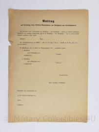Wo2 Duits document Antrag fur Uniform Bezugschein met schets tekening van officier erop - 29,5 x 21 cm - origineel