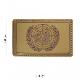 Embleem 3D PVC UN / VN Verenigde Naties  -  klittenband - 7,8 x 4,8 cm - Bruin
