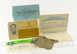 US documenten en dogtag set -William Mulholland - jaren 70 - dogtag WO2 - origineel