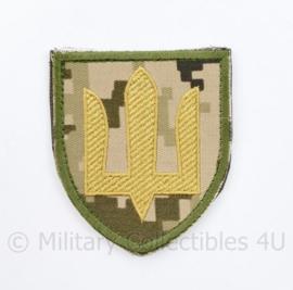 Ukrainian Army patch emblem Flag Cossack Sables Yellow on camouflage - met klittenband  - 8,5 x 7 cm - origineel