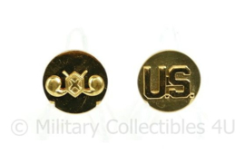 US Army enlisted collar disc pair Chemical Corps - diameter 25,93 mm - origineel WO2
