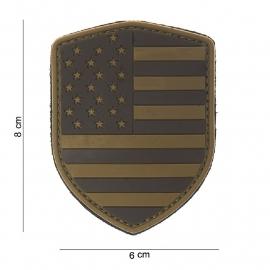 Uniform landsvlag USA Embleem 3D PVC schild  -  klittenband -8 x 6 cm - desert