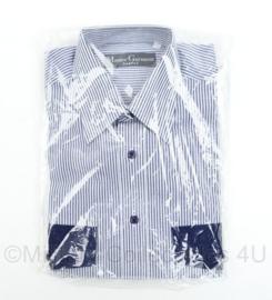 Master Garment overhemd lange mouwen - wit met blauw gestreept - halsmaat 37/38 - nieuw in verpakking - nieuw gemaakt - origineel
