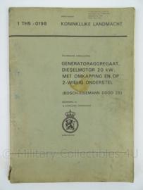 KL Landmacht Technische Handleiding Generatoraggregaat dieselmotor Bosch Eisemann DDOD25 - TH 5-0198 - afmeting 30 x 21 cm - origineel