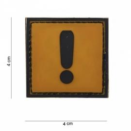 Embleem Caution !! - Klittenband - 3D PVC - 4 x 4 cm.