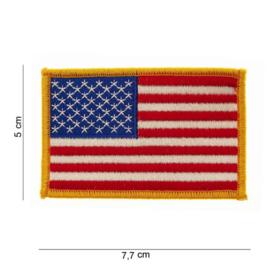 Uniform landsvlag USA stof - gele rand - klein - 5 x 7,7 cm