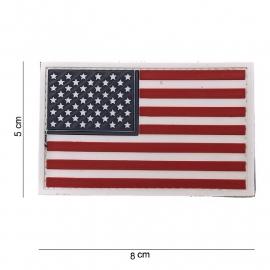 Uniform landsvlag USA 3d PVC witte rand met klittenband - 8 x 5  cm.