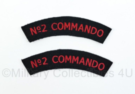 WO2 Britse leger No. 2 Commando shoulder titles pair