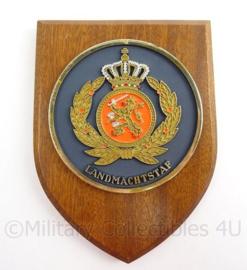 KL Landmacht wandbord Landmachtstaf - met handtekening Luitenant Generaal JG Roos - afmeting 14 x 19 x 1,5 cm - origineel