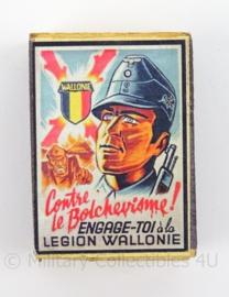 WO2 Duits luciferdoosje van echt hout - Legion Wallonie - afmeting 6 x 4 cm - replica