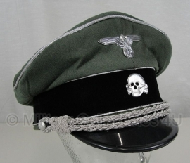 Waffen SS Feldgrau officieren algemeen Zilveren bies - schirmmütze gabardine - semi crusher - maat 58 of 60 cm.