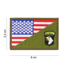 Embleem stof US 101st Airborne Division small with American flag and GREEN - 8 x 5,3 cm.