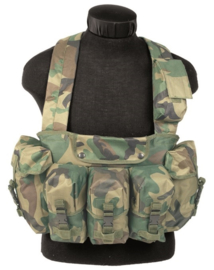 Chest Rig 6 pocket Woodland Forest camo Korps Mariniers model (nieuw gemaakt)