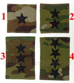 US Army multicamo GENERAL rangemblemen met klittenband - voor op de borst - verschillende rangen