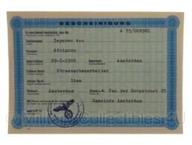 Stalag tewerkstelling - Nederlandse krijgsgevangene - Adrianus van Ieperen Amsterdam