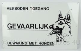 Defensie aluminium bewakingsbord waakhond - Bord Verboden Toegang Bewaking met honden - 50 x 80 cm - origineel