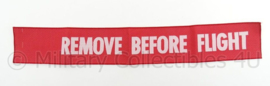 KLu Luchtmacht Remove Before Flight groot lint - afmeting 53 x 8 cm - replica