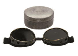 Vintage bergtroepen bril met blikje - WO2 model - origineel naoorlogs