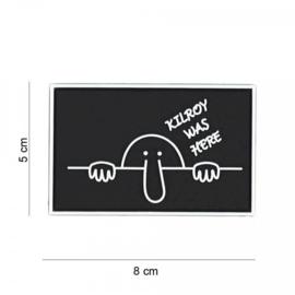 Embleem Kilroy was here - zwart - met klittenband - 3D PVC - 8 x 5 cm