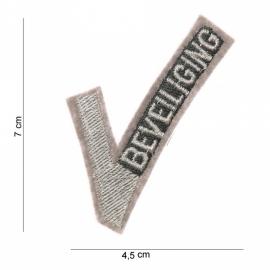 """Security Beveiliging """"V"""" insigne stof - 7 x 4,5 cm"""