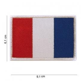 Uniform vlag Frankrijk - witte rand - groot - 9,1 x 6,1 cm.