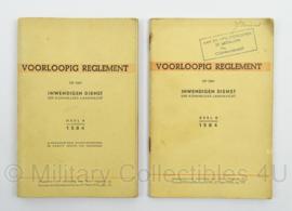 Voorlopig Reglement op den Inwendigen Dienst 1946! Deel A en B 1584 - afmeting 13 x 19 cm - origineel